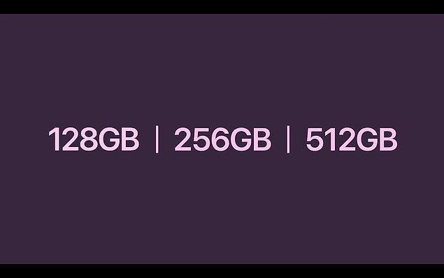 iPhone 13 128, 256 ve 512 GB saklama alanı seçenekleriyle geliyor.