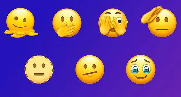 Öncelikle alışık olduğumuz sarı emojilerin yeni versiyonları arasında eriyen yüz, asker selamı, tek gözünü kapatan yüz, gözleri dolu yüz gibi emojiler var.