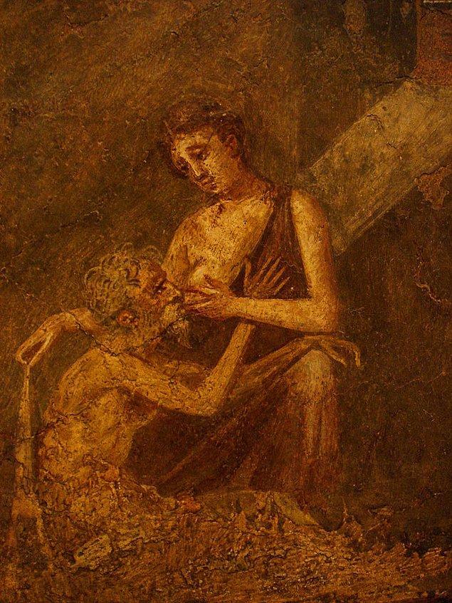 """Kültürde ismi """"Roma Hayırseverliği"""" ile anılan böylesine bir olayın da resimleri ardı sıra yapılır tabii ki. Bilinen en eski resme ise Pompei'nin duvarlarındaki bir freskte rastlanır."""