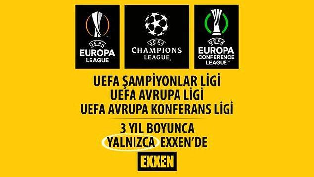 UEFA Şampiyonlar Ligi, UEFA Avrupa Ligi ve UEFA Avrupa Konferans Ligi'nin 3 sezon boyunca Türkiye'deki yayıncısı EXXEN oldu biliyorsunuz.