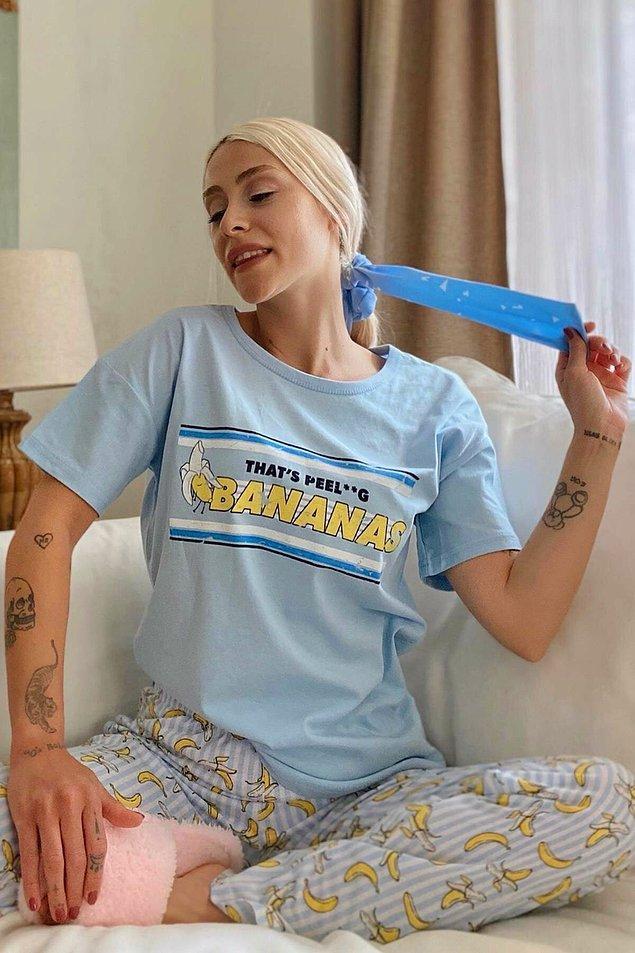 6. Kışın bile asla uzun kollu giyemeyenler için çok sevimli %100 pamuk pijama takımı.