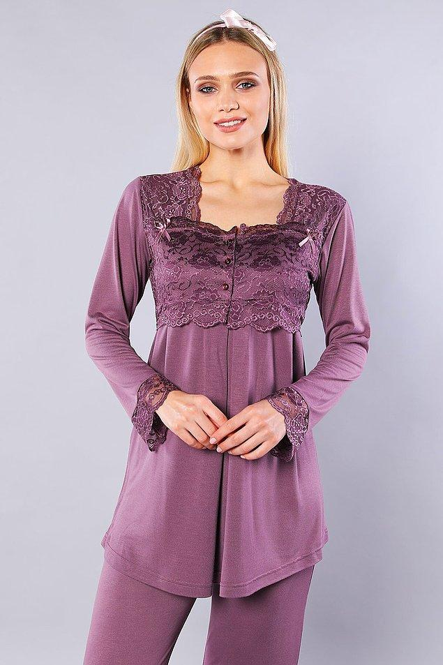 13. Emziren anneler için lohusa pijama takımı oldukça şık ve asil duruyor...