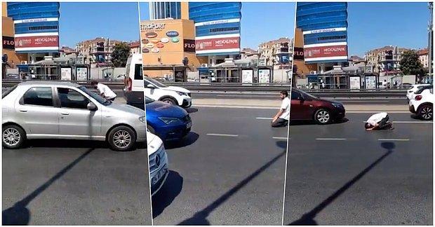 E5'in Yoğun Trafiğinde Yanlış Kıbleye Doğru Namaz Kılmaya Çalışan Vatandaşa Gelen Tepkiler