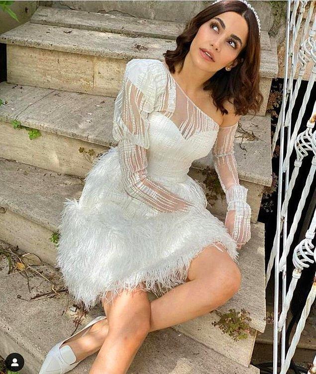 12. Güzel oyuncu Şilan Makal, futbolcu sevgilisiyle sade bir törenle evlendi.