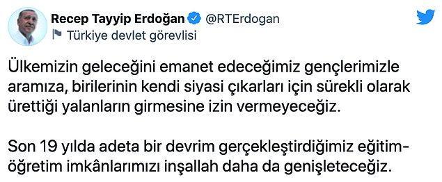 Erdoğan paylaşımında şu ifadeleri kullandı: