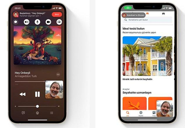 Bonus: Henüz güncellemede olmasa da ileri zamanlarda çıkması planlanan bir diğer özellik 'SharePlay'. Bu özellik sayesinde arkadaşlarınızla ekran paylaşarak beraber film izleyebilecek ve müzik dinleyebileceksiniz.