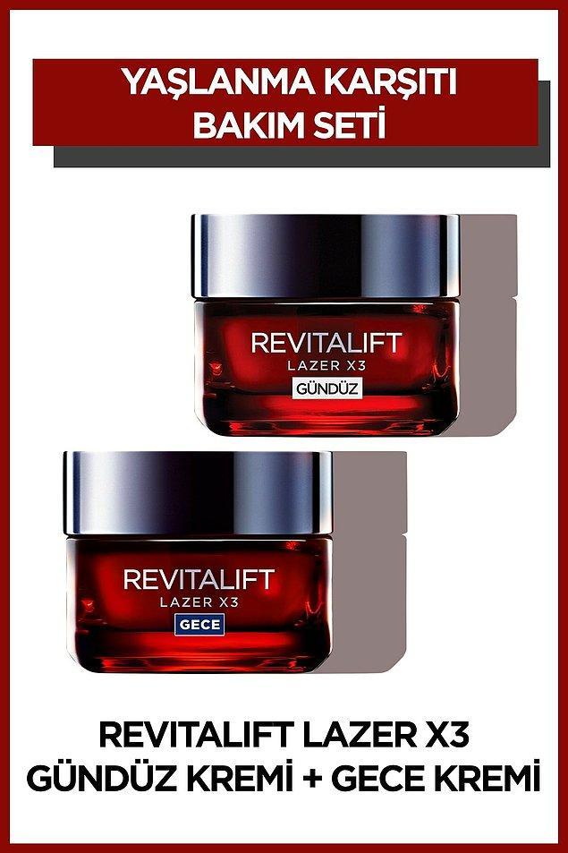 4. L'Oréal Paris Revitalift Lazer X3 Yoğun Yaşlanma Karşıtı Gündüz Bakım Kremi + Gece Bakım Kremi
