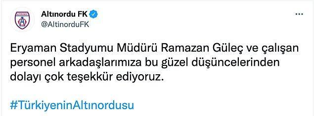 Sonrasında Altınordu FK da sosyal medya hesaplarından bu paylaşıma teşekkür etti.