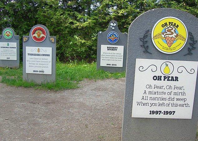 11. Dünyaca ünlü şirket Ben&Jerry's, üretmeyi bıraktıkları eski aromalar için gerçek bir mezarlık kurmuş.