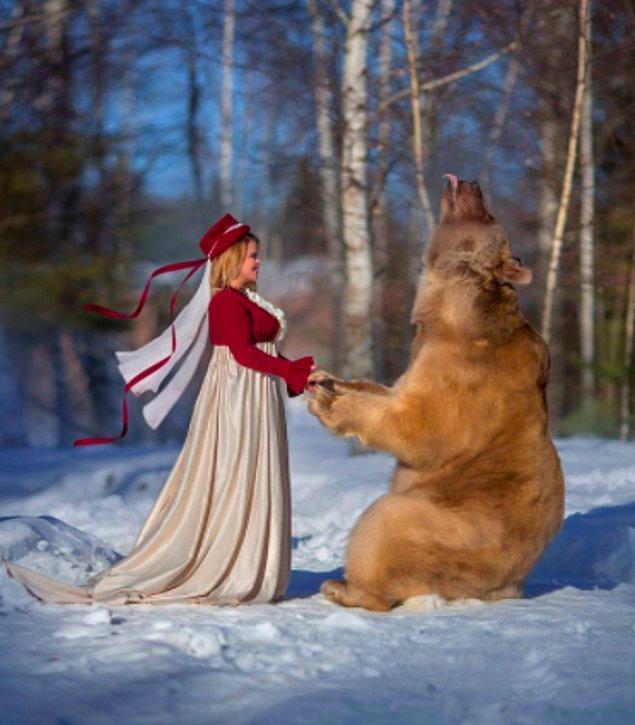 9. Rusya'da henüz bir yavruyken terk edilen ve insanlar tarafından büyütülen bu bozayı modellik yapıyormuş.