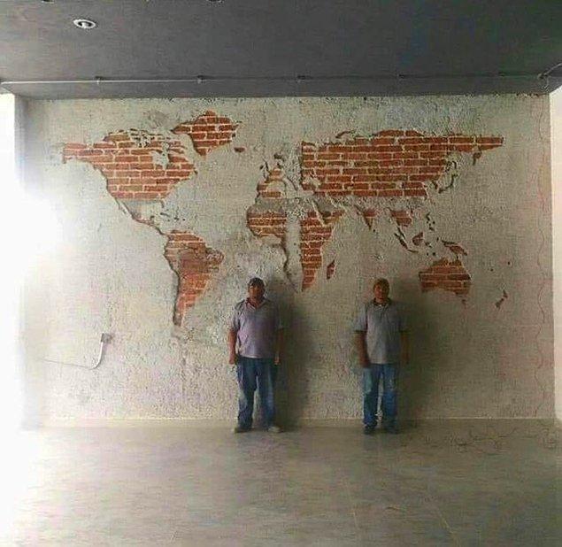 1. Asın bayrakları! Türk işçiler tarafından yapılan dünya haritası: