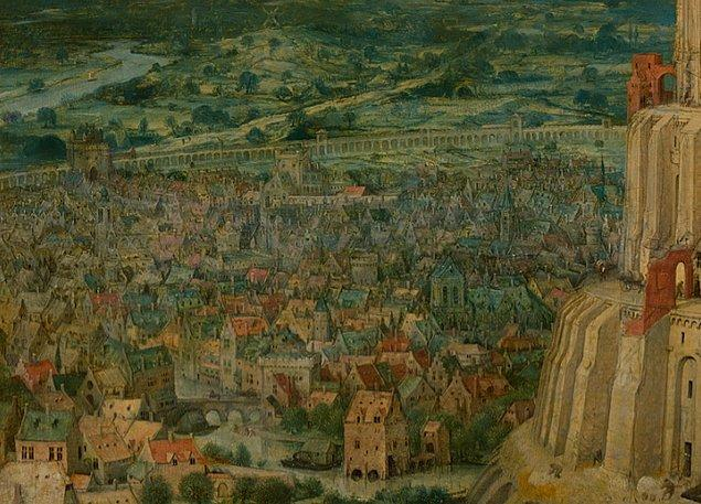 Sol tarafına baktığımızda surla kaplı bu kentteki evlerin ve tarım alanlarının devamını görebiliyoruz.