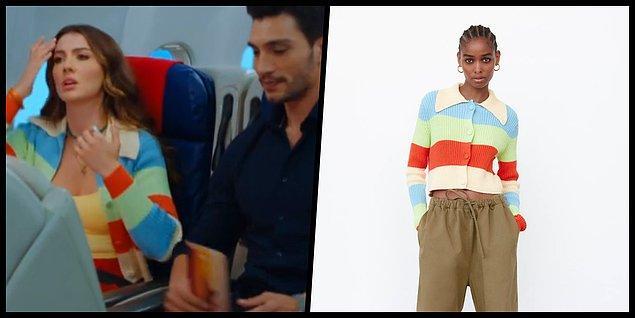 3. Bu sene moda olan renkli hırkalar Esra'nın kıyafetlerine de yansımış.