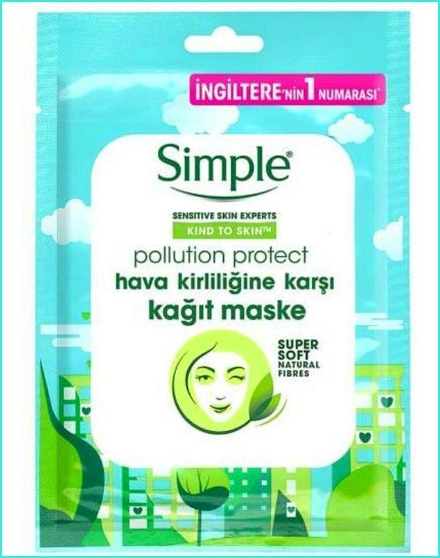 6. Hava kirliliğine karşı cildinizi arındırıp koruyacağınız bir maske ararsanız Simple'da var.