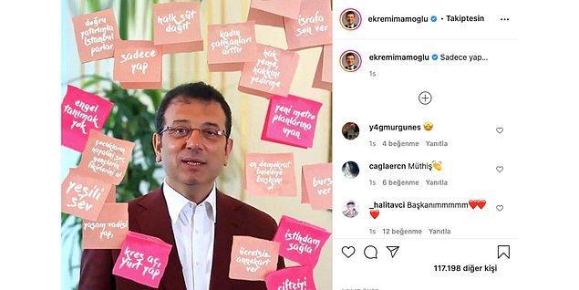 """Bugün de Ekrem İmamoğlu, Instagram hesabından post-itlere yazılı olan vaatlerini """"Sadece Yap"""" notuyla paylaştı."""