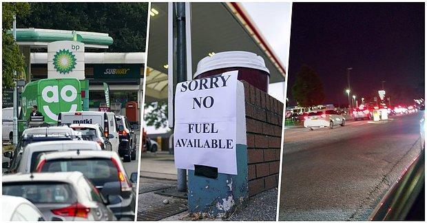 Bazı Petrol İstasyonlarının Kapatılacağının Duyurulmasıyla Birlikte İngiltere'de Uzun Benzin Kuyrukları Oluştu