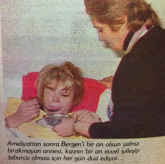 Azmettirici Halis Serbes'in kezzap attırmasından sonra Bergen'in iki gözü de hasar gördü, vücudunun büyük bir bölümü yandı. Bir gözü daha sonra görme yetisini yeniden kazansa da diğer gözü tamamen gitti. O anla ilgili Bergen'in yaptığı açıklama gazetelerde şu şekilde yer aldı: