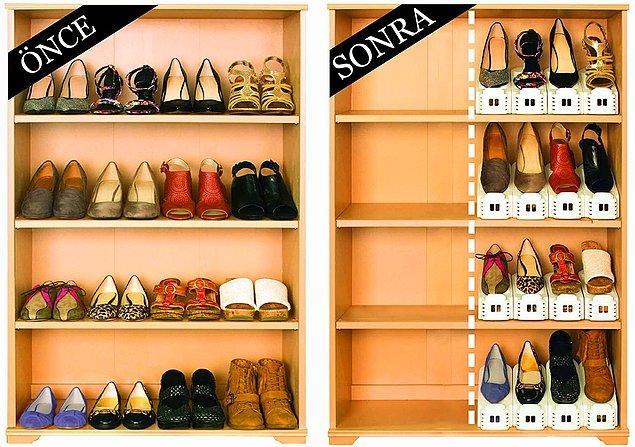 4. Ayakkabı dolabınızdaki karmaşaya dur demek için bu düzenleyicilerden mutlaka edinmelisiniz.