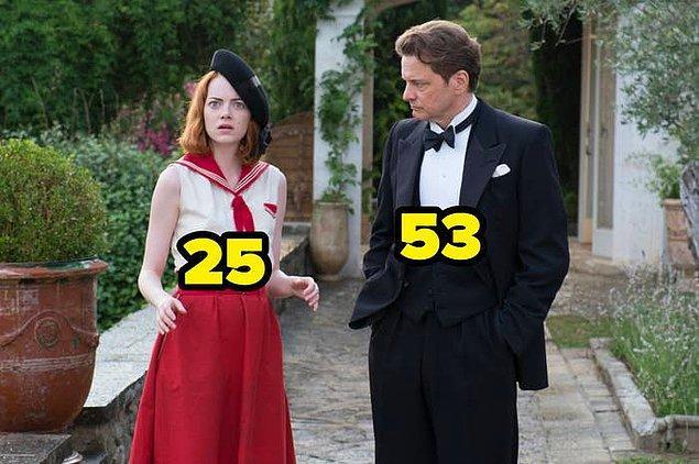 1. Sihirli Ay Işığı filmi çekilirken, Emma Stone 25 yaşındaydı. Colin Firth ise 53.