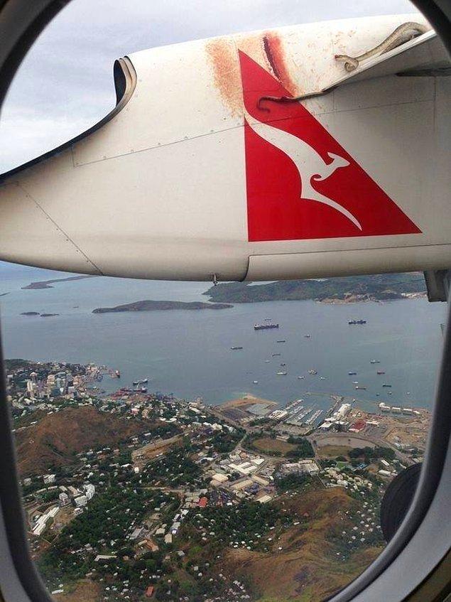 30. Camdan dışarı baktığınızda uçağın kanatlarında sallanan bir yılan görmek...