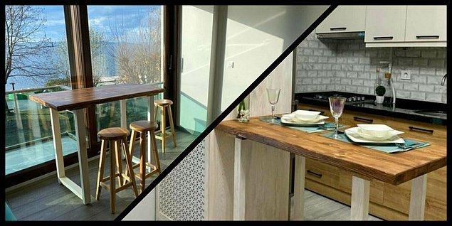 7. Tek bir mobilyanın evinizin havasını nasıl değiştirdiğine bu bar masasıyla şahit olacaksınız.