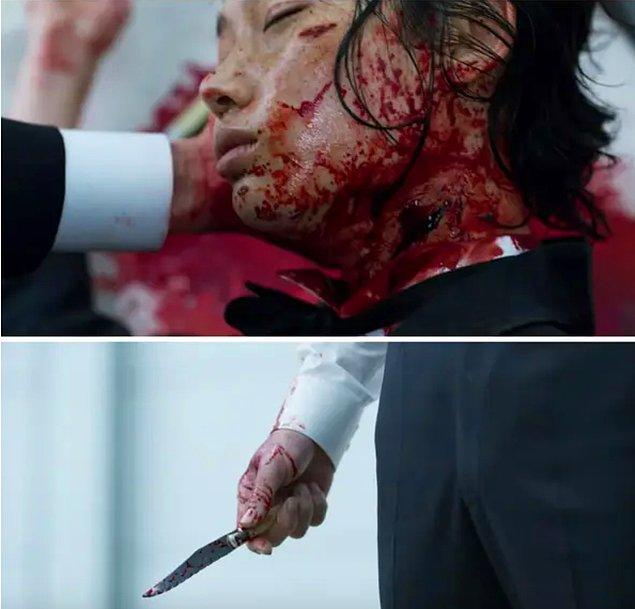 Sonunda, Sang-woo final oyunundan hemen önce Sae-byeok'u acımasızca boynundan bıçaklar ve ölümcül yara, 2. bölümde Sae-byeok'un adamın boynuna bıçağı tuttuğu yerdedir.