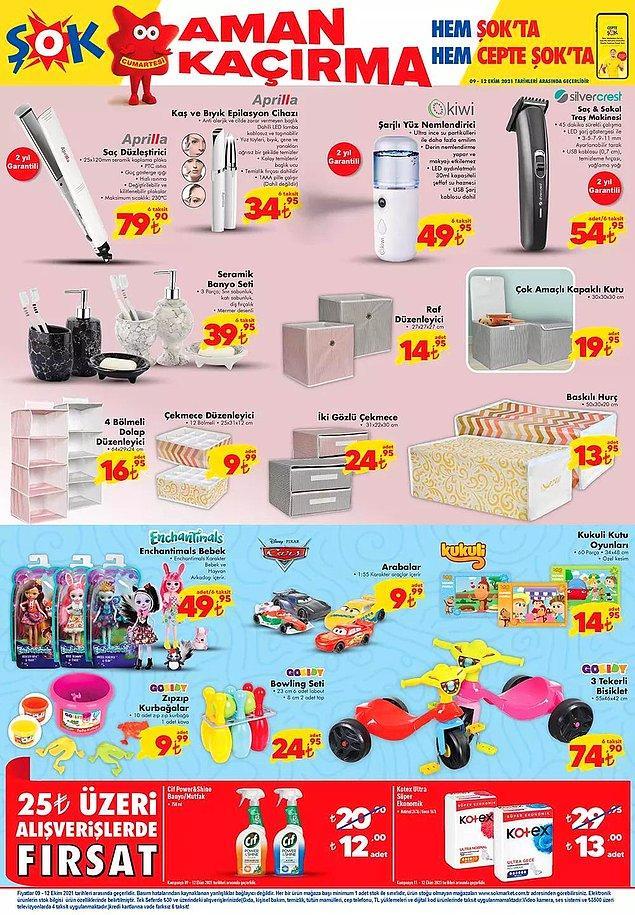 25 TL ve üzeri alışverişlerinizde Cif Power Shine Banyo ve Mutfak Temizleyici 12 TL, Kotex Ultra Süper Ekonomik Ped 13 TL.