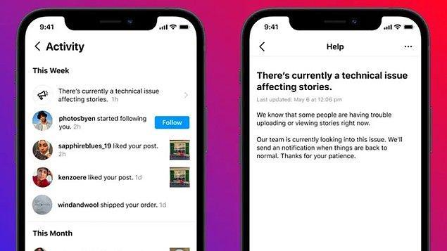 Söz konusu yeniliği resmi blog sayfasında duyuran Instagram, platformda erişim sıkıntısı yaşandığında kullanıcılarına bildirim göndererek bilgilendirecek.