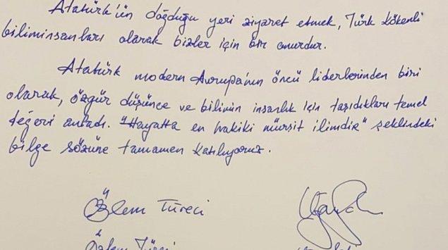 Türkiye'nin Atina Büyükelçisi Burak Özügergin'in karşıladığı Türeci ve Şahin, Atatürk Evi'ndeki anı defterine şunları yazdı 👇