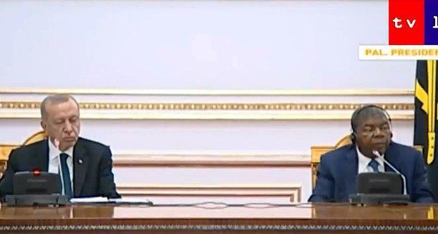 Cumhurbaşkanı Erdoğan'ın Angola Cumhurbaşkanı ile Yaptığı Ortak Açıklamada Uyuyakaldığı İddia Edildi